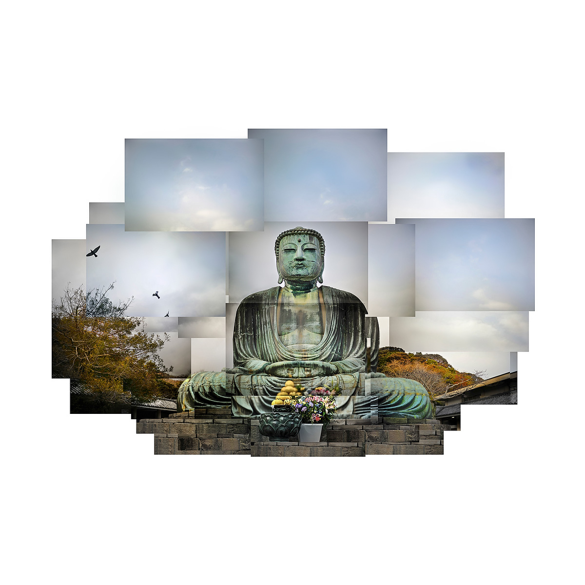 The giant Buddha statue in Kamakura, Japan is rendered in a composite image by using multiple digital files of individual pictures which were assembled in Photoshop.